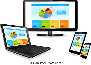 website template on multiple device - Responsive website...