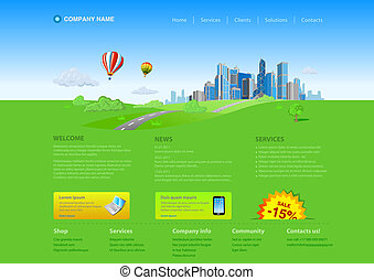 Website template: Skyscraper cityscape Startup design. Fresh...