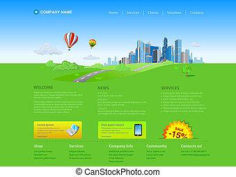 Website template: Skyscraper cityscape Startup design. Fresh ideas. Innovations.