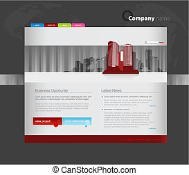 Website template with city.