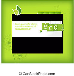 Website template with green background.