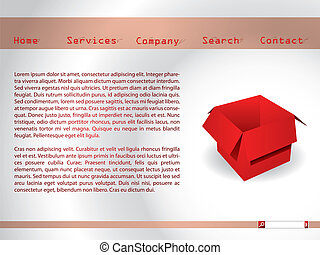 Website template with red box