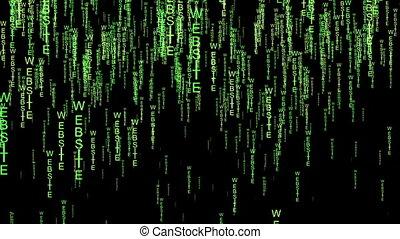 Website text code matrix style