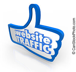 Website Traffic Thumb Up Increase Visitors Online Reputation...
