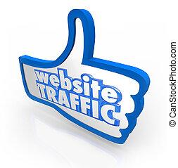 website, trafik, tommelfinger oppe, forhøje, visitors,...