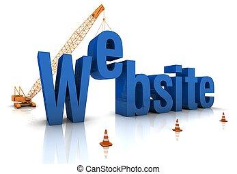 Construction site crane building a blue 3D text. Part of a series.