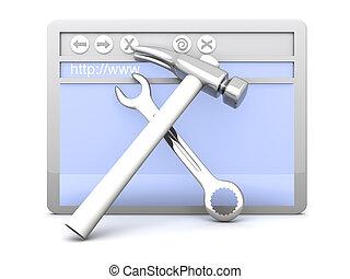 Website under construction - 3D Illustration. Website is...
