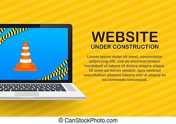 Website Under construction sign on laptop. Vector illustration for website.