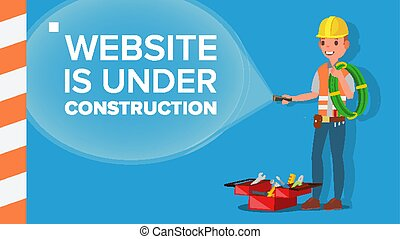 Website Under Construction Vector. Error Website Page. Coming Soon. Flat Illustration
