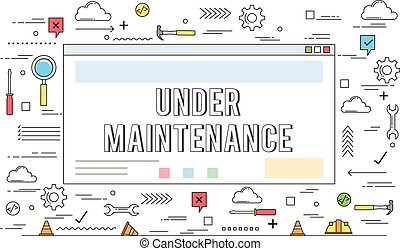 Website under maintenance concept  line style illustration