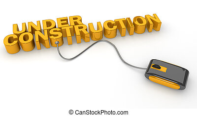 Mouse connected to under construction word 3d illustration