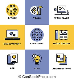 Website, user interface and mobile apps development icons