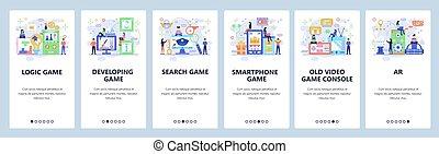 website, væv, forskellige, development., vektor, lejlighed, ambulant, logik, app, konsol, illustration, uddannelses, onboarding, screens., konstruktion, skabelon, site, video, games., banner, typer