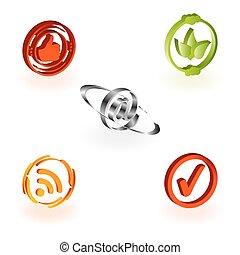 website, væv, sæt, og, iconerne, icons., andragender, internet