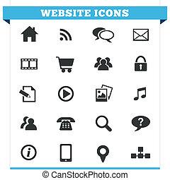 website, vector, set, iconen