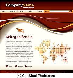 website, vektor, šablona