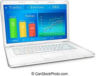 website, verkeer, analyse, op, draagbare computer, scherm