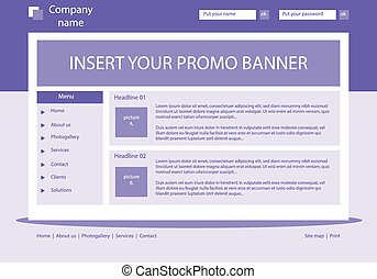 Website violet template layout with text