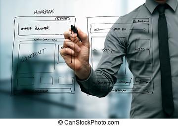 website, vyvolávání, konstruktér, wireframe, kreslení