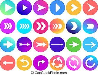 website, web, pijlpunt, kleurrijke, iconen, helling, pijl, back, knoop, vector, icon., richtingwijzer, cirkel, volgende, navigatie, of, ronde, meldingsbord