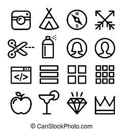 website, web, wohnung, heiligenbilder, benutzer, -, sammlung, design, blog, linie, schifffahrt, kaufmannsladen, ikone