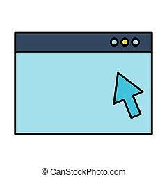 website window click arrow digital vector illustration