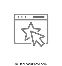 Website with star line icon. Customer email, add to favorites, online voting, star rating in message symbol