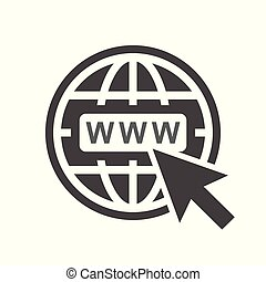 website, wohnung, web, abbildung, hintergrund., vektor, internet, gehen, icon., weißes