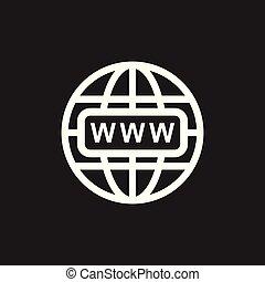 website, wohnung, web, abbildung, hintergrund., vektor, schwarz, internet, gehen, icon.