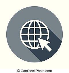 website, wohnung, web, abbildung, runder , vektor, hintergrund, internet, gehen, icon., shadow.
