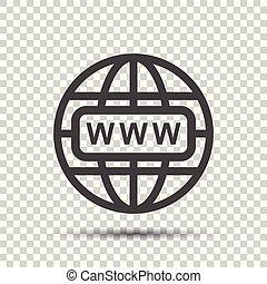 website, wohnung, web, freigestellt, abbildung, hintergrund., vektor, internet, gehen, icon.