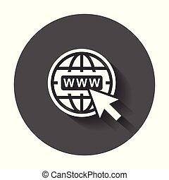 website, wohnung, web, langer, vektor, abbildung, internet, gehen, icon., shadow.