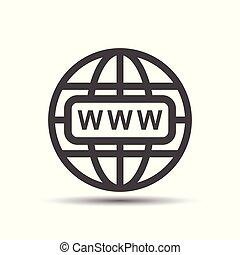 website, wohnung, web, weißes, abbildung, vektor, hintergrund, internet, gehen, icon., shadow.