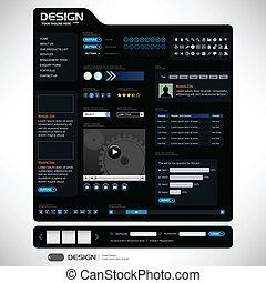 website, zamiar sieći, szablon, element