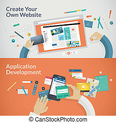 Websites and apps development - Set of flat design concepts...