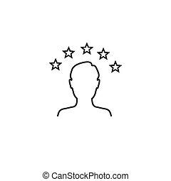 websites, kritik, ikone, apps, kunde, oder, bewertung, linie, 5, stern, erfahrung, kunst, vektor, befriedigung