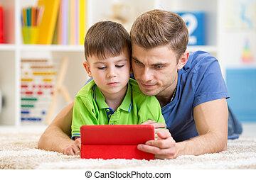 websurfing, タブレット, 息子, デジタル, 家, お父さん
