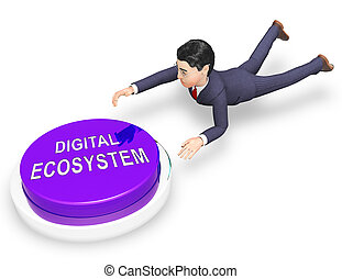 wechselwirkung, eco, system, übertragung, digital, daten, 3d