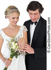 wed, par, anéis, olhar, casório, recentemente