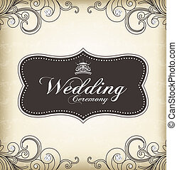 (wedding, 型, フレーム, ceremony)