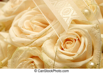 Wedding #19 - close-up of a roses in a wedding bouquet....
