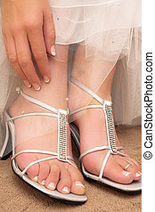 Wedding #31 - Close-up of bridal shoes.  Shallow D.O.F
