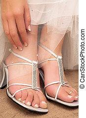 Wedding #31 - Close-up of bridal shoes.  Shallow D.O.F