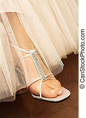 Wedding #34 - Close-up of bridal shoes.  Shallow D.O.F