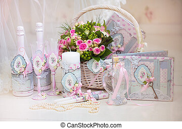 Wedding accessories for the morning of the bride in pink . ...