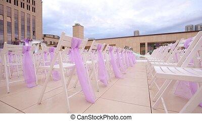 Wedding aisle decor. Outdoors wedding ceremony. Close up