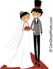 Wedding Aisle - Illustration of an Asian Couple Walking on...