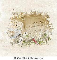 wedding album collage - Wedding scrapbook with daisy bouquet...