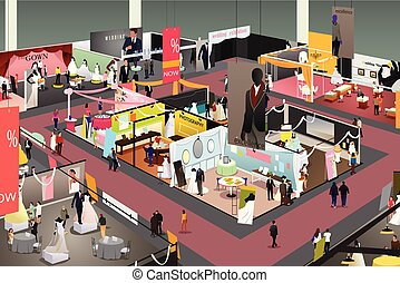 Wedding and Bridal Trade Show Illustration - A vector...
