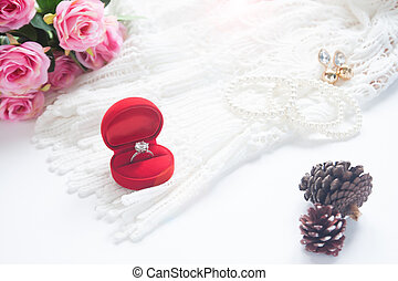 Wedding and Engagement concept, Selective focus on diamond ring in red box